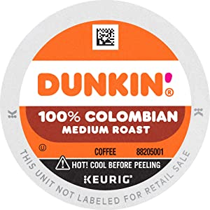 Dunkin' 100% Colombian Medium Roast Coffee, 10 K Cups for Keurig Coffee Makers (Packaging May Vary)