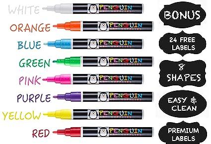 amazon com chalk markers 8 colors with bonus 24 chalk stickers