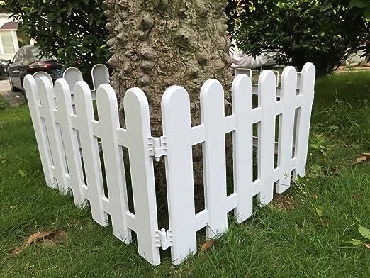 Hineway Vallas decorativas para jardín, blancas de PVC 48, 2 x 27, 9 cm 4 unidades: Amazon.es: Jardín