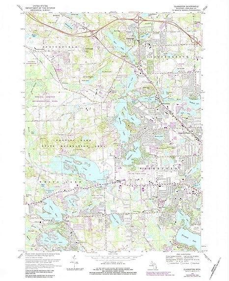 Amazon.com : YellowMaps Clarkston MI topo map, 1:24000 Scale, 7.5 X on