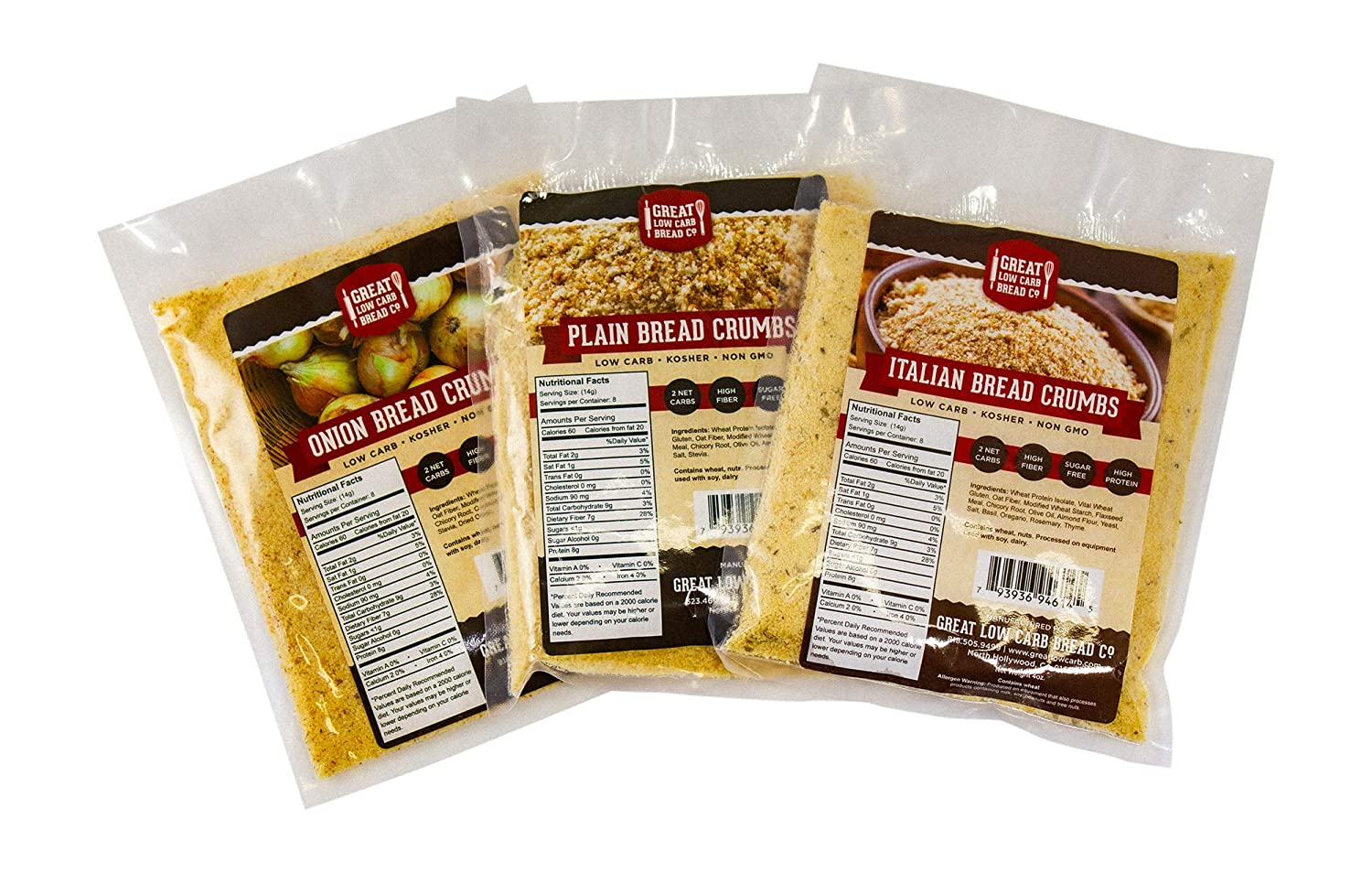 Low Carb Bread Crumbs Great Low Carb Bread Company High Protein High Fiber Keto Friendly Non Gmo Variety Pack Plain Italian Onion 4 Oz Pack Of 3 Amazon Com Grocery Gourmet Food