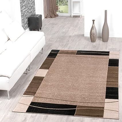 Tappeto economico borduere Design moderno soggiorno tappeto beige ...