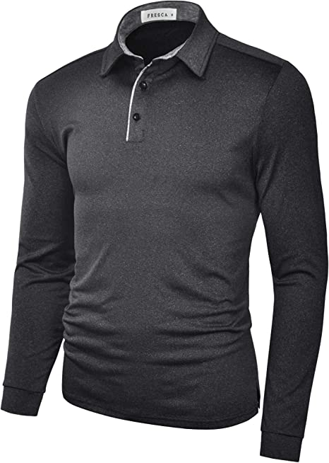 Tymhgt Mens Regular Fit T-Shirt Lapel Solid Color Long Sleeve Leisure Polo Shirt