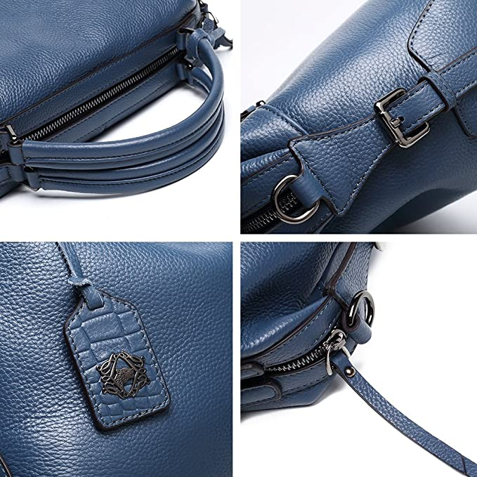 dddee528d Amazon.com: ZOOLER GLOBAL Genuine Leather Handbags for Women Top Handle Bag  Crossbody Bags Large Purse Blue: Clothing
