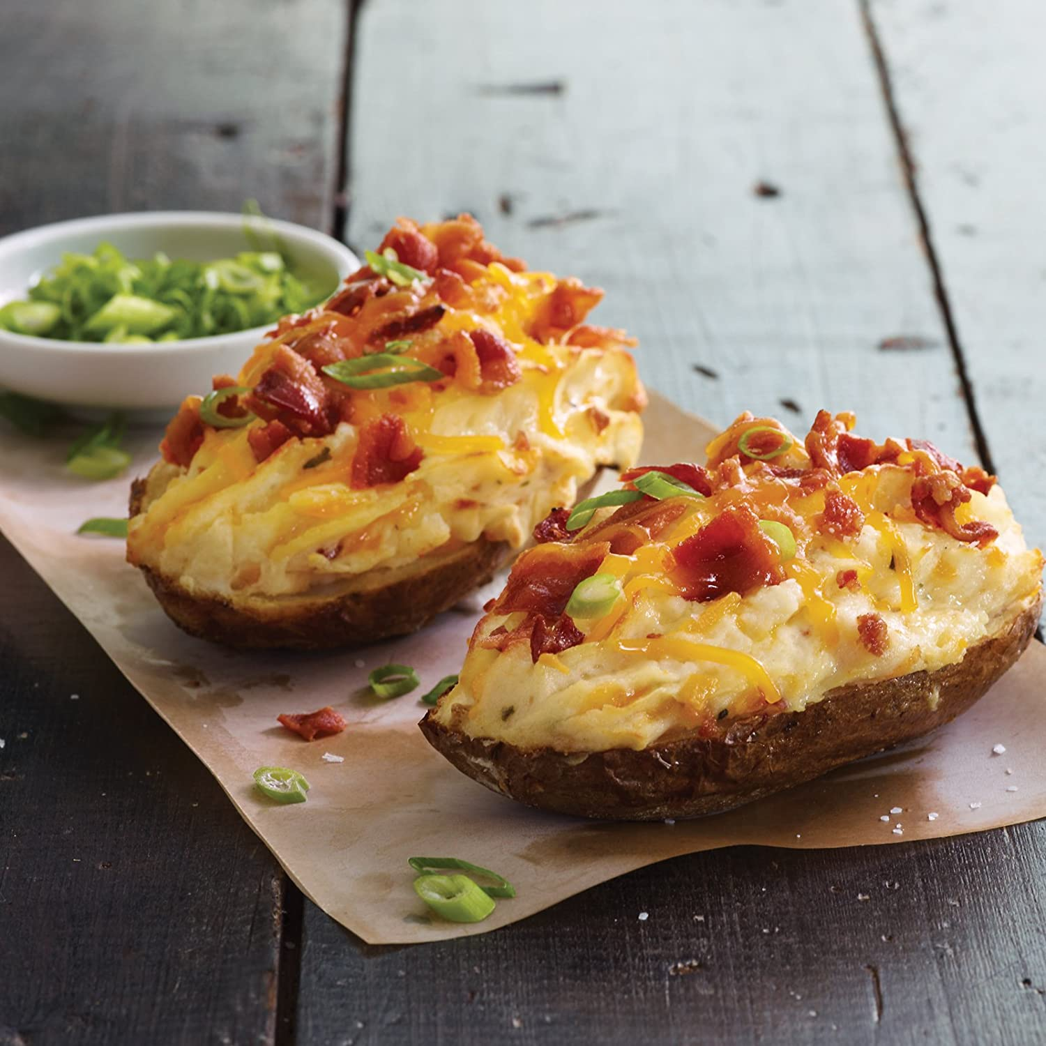 Cheddar Bacon Twice Baked Potatoes, 8 count, 5 oz each from Kansas City Steaks