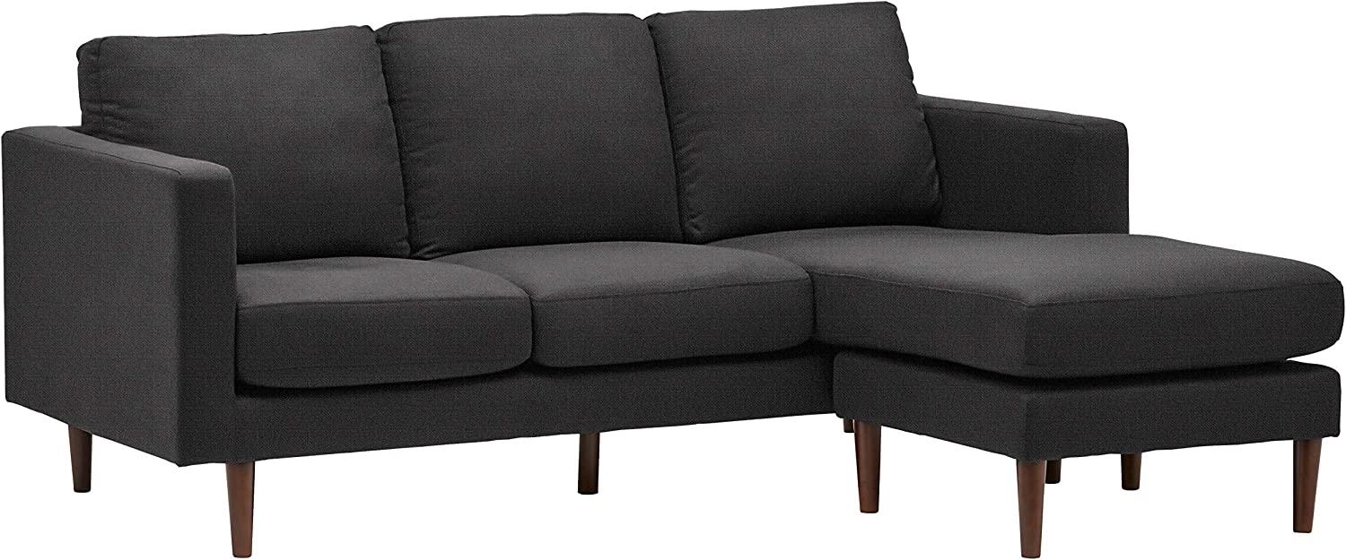 Rivet Revolve Modern Upholstered Sofa with Reversible Sectional Chaise, 80 W, Storm Grey