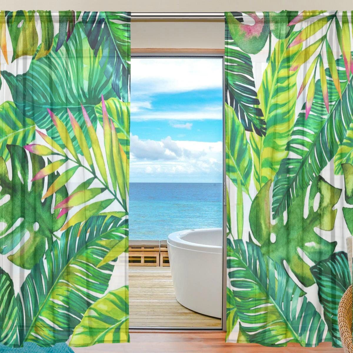 SEULIFE Window Sheer Curtain Tropical Hawaiian Palm Leaves Pattern Print Voile Curtain Drapes for Door Kitchen Living Room Bedroom 55×78 inches 2 Panels