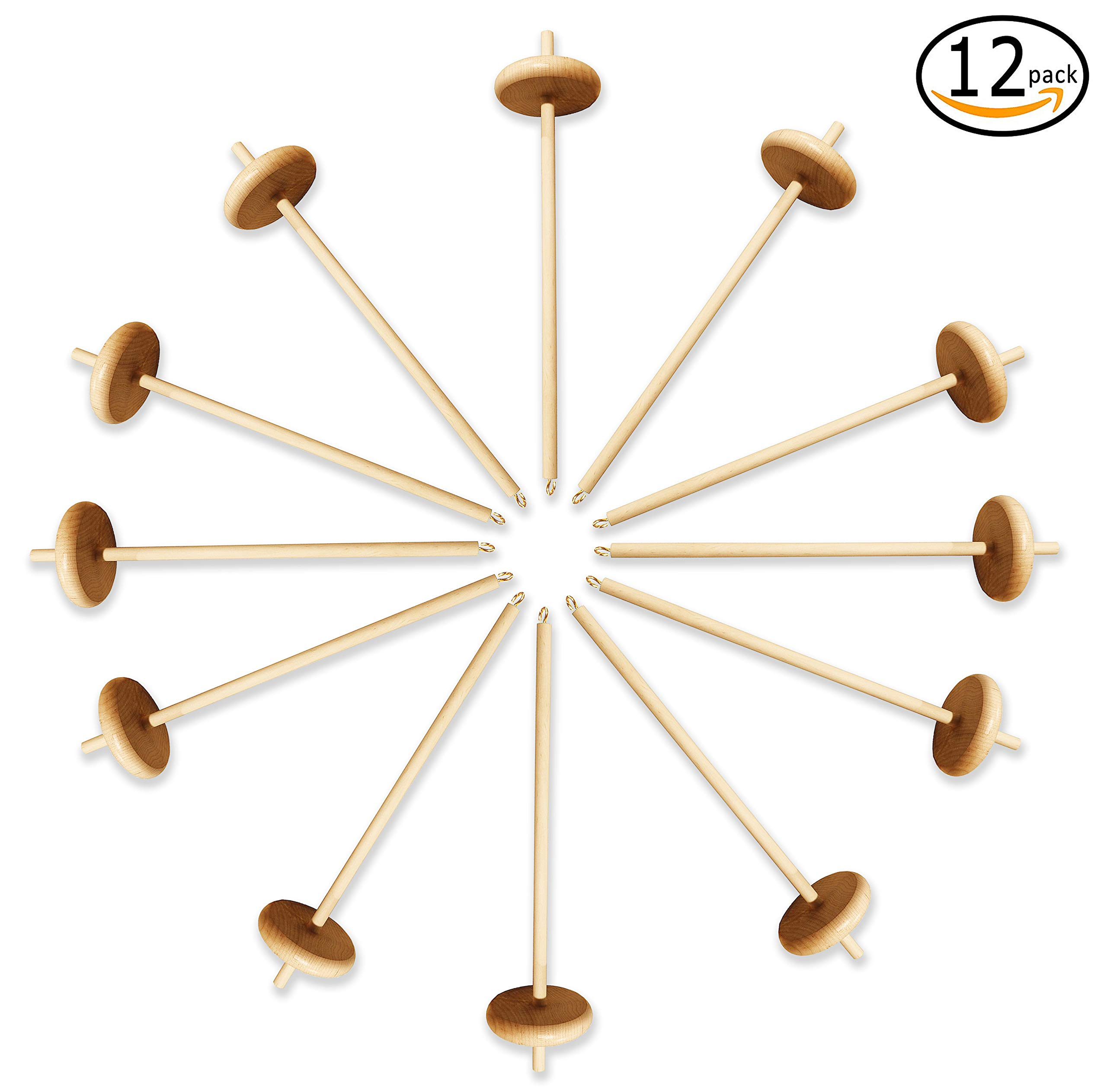 Happy Classy Drop Spindle Maple Spinning 12'' Bottom Whorl 12 Pack