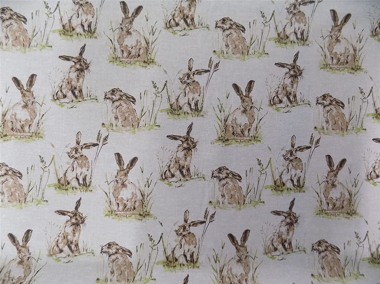 Wild Hasen Kaninchen beige Baumwolle Hochwertiger Stoff Material ...