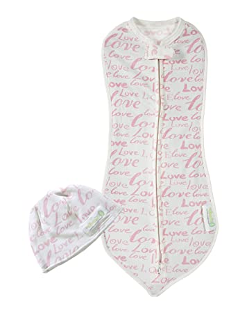 506cf99755 Amazon.com  Woombie My First Months Baby Swaddle with Hat – Easy To Use  Natural Approach to Swaddling –Stretchy But Snug Breathable Fabric – Pink  Love ...