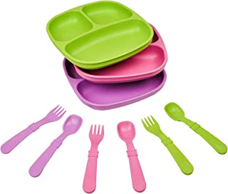 product image for Re-Play Made in The USA Dinnerware Set - 3pk Divided Plates with Matching Utensils Set (Butterfly)