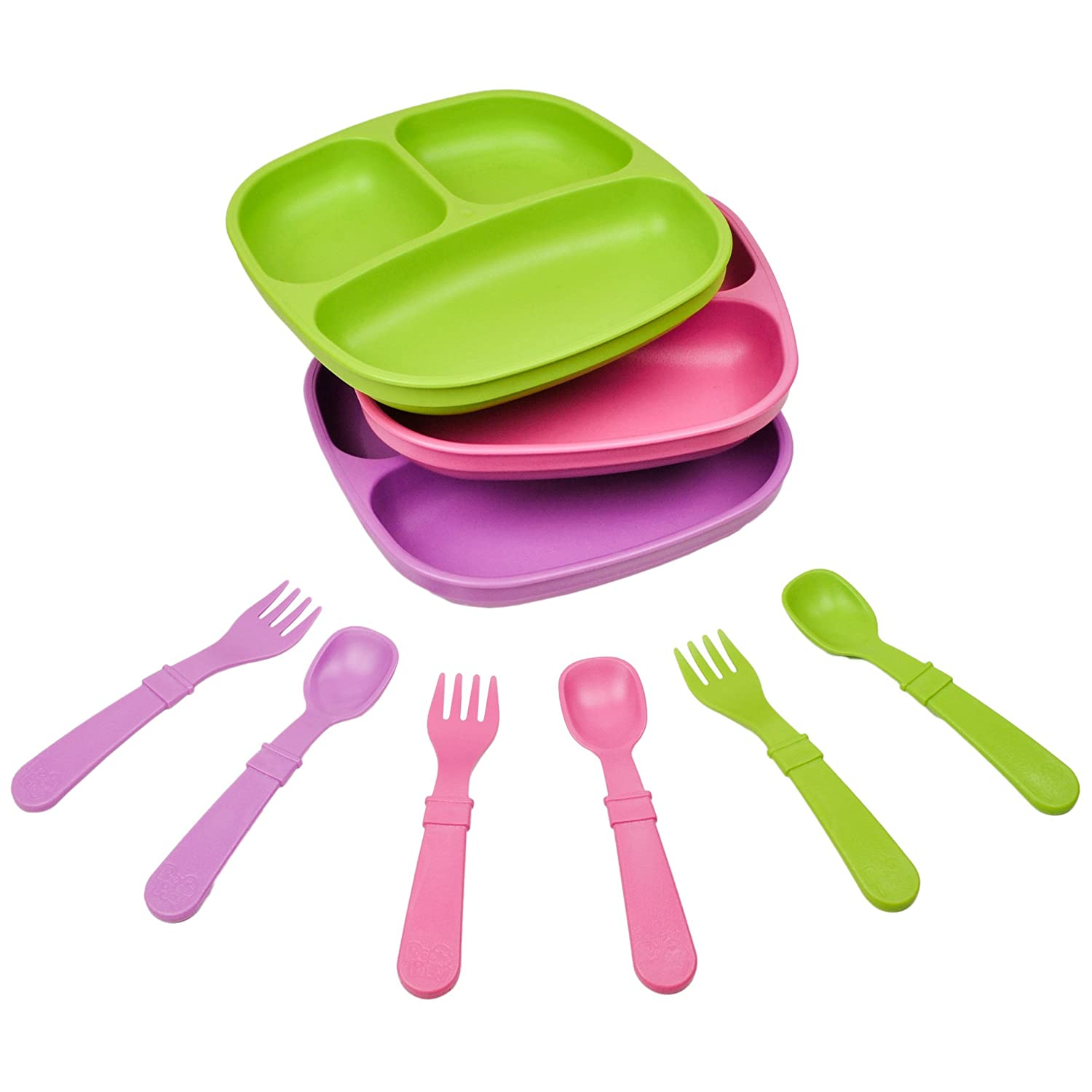 Lime Green Aqua Re-Play Made in The USA Dinnerware Set Under The Sea 3pk Divided Plates with Matching Utensils Sky Blue