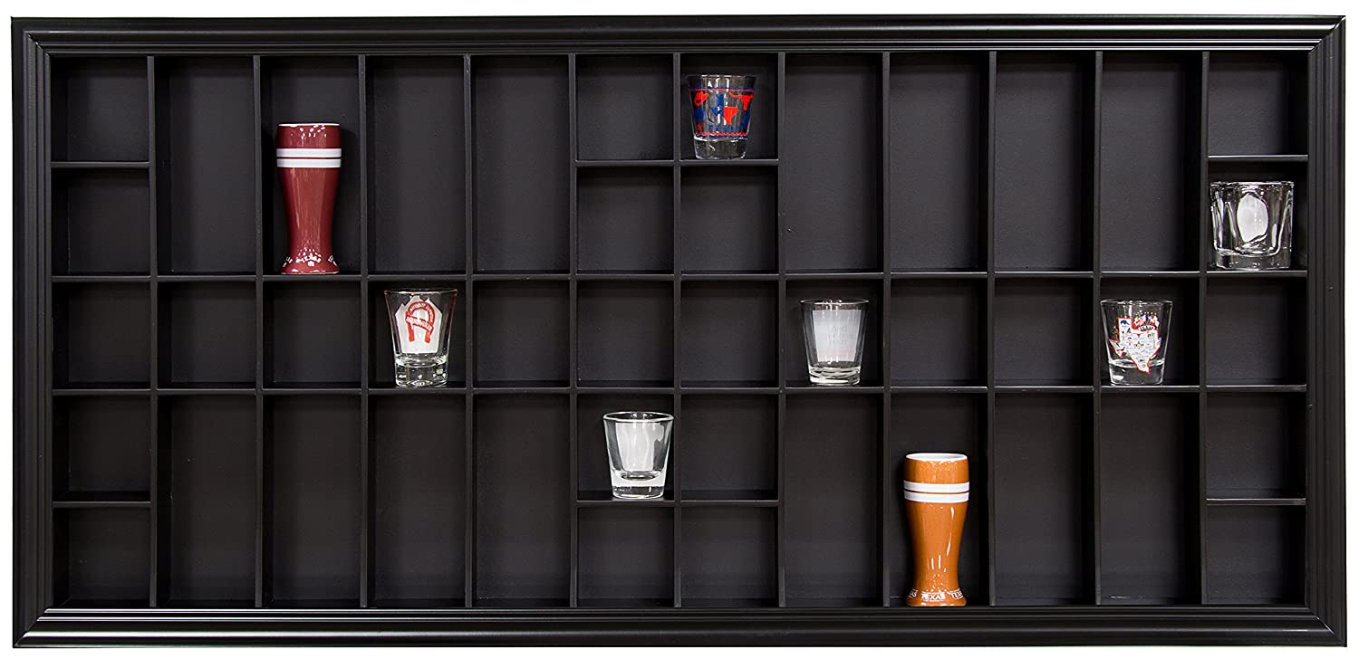 Gallery Solutions 35x16 Display Hinged Front, Black Shot Glass Case OD 35.2125X16.5