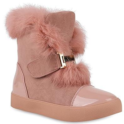 c21abfbd30c4ec Damen Stiefeletten Plateau Boots Warm Gefüttert Winter Schuhe 147218 Rosa  Lack 36 Flandell