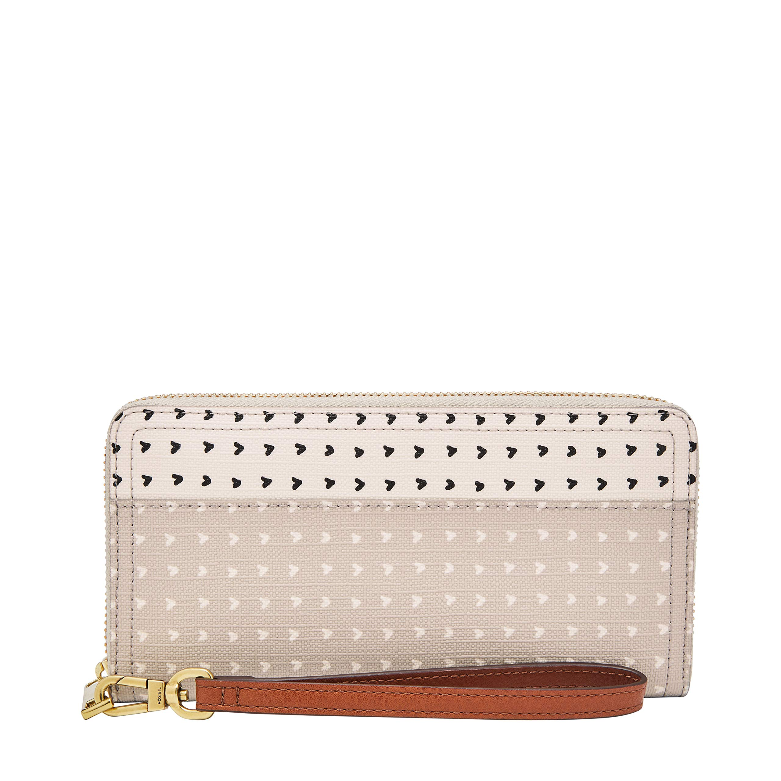 Fossil Logan RFID Zip Around Clutch Hearts by Fossil