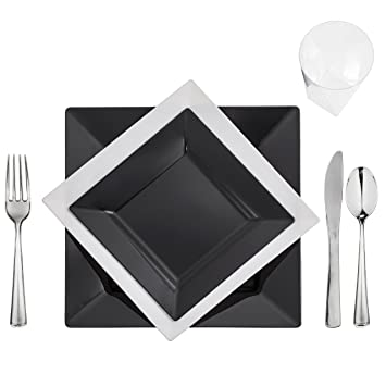 120 Full Table Settings BLACK-WHITE Square Plates Cups Cutlery u0026quot;WEDDING  sc 1 st  Amazon.com & Amazon.com: 120 Full Table Settings BLACK-WHITE Square Plates Cups ...
