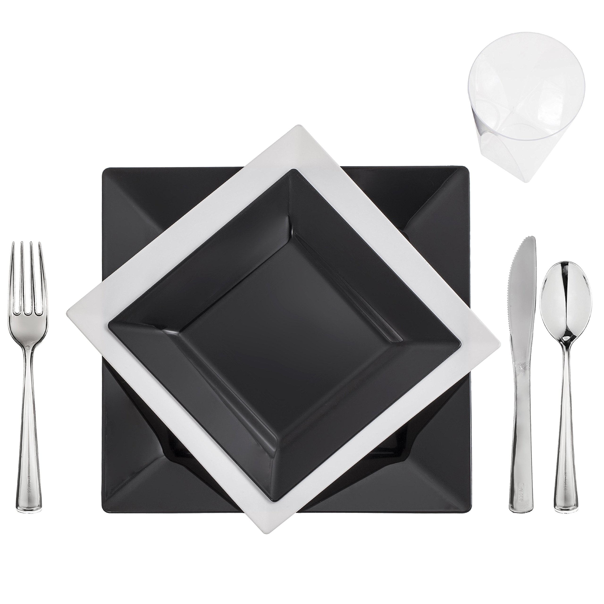 120 Full Table Settings BLACK-WHITE Square Plates, Cups, Cutlery ''WEDDING SPECIAL'' Heavy Duty Plastic Look Real