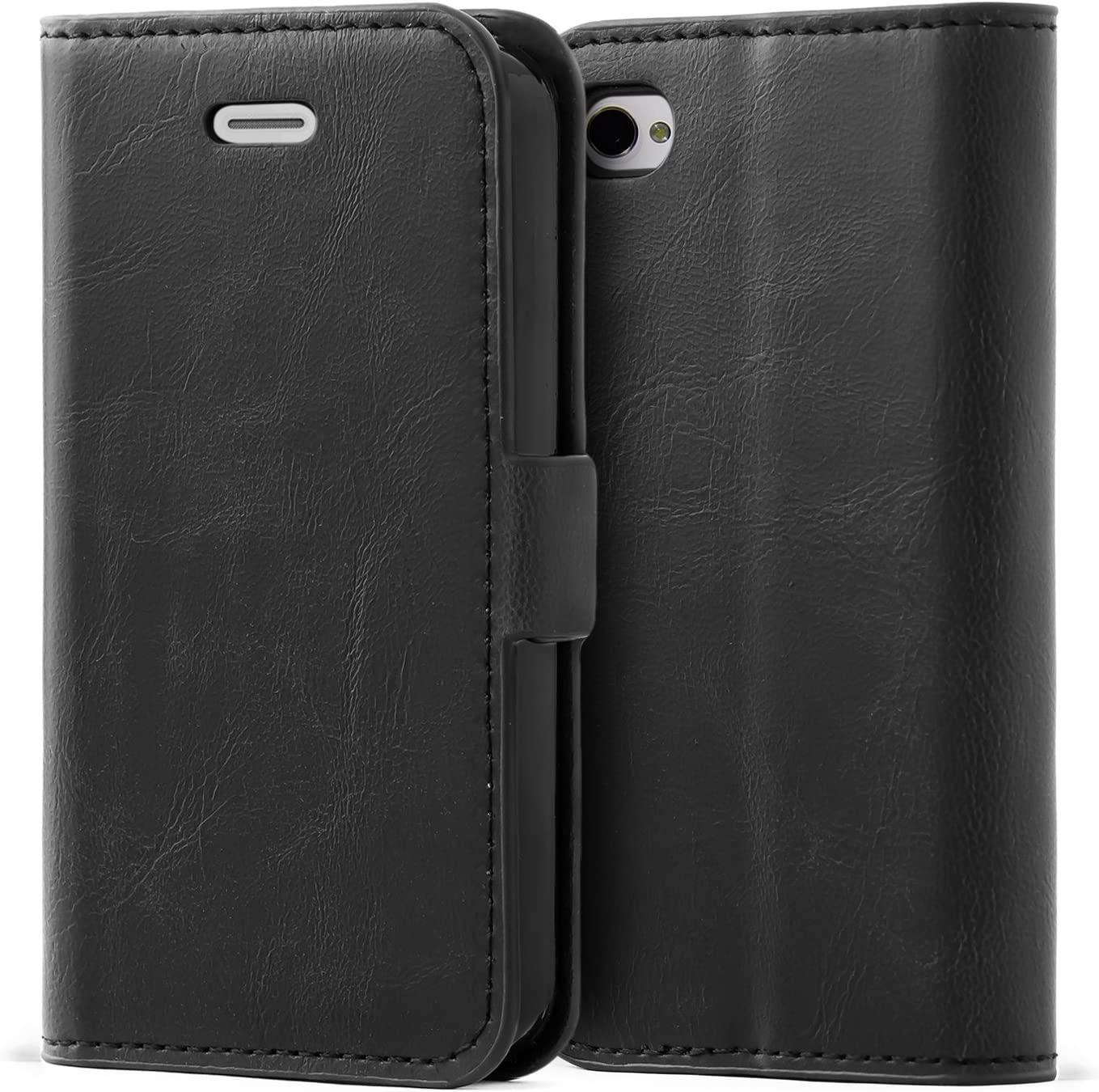 Mulbess iPhone 4s Wallet Case, Flip Leather Phone Case with Kickstand and Card Holder for iPhone 4 / 4s Cover, Black