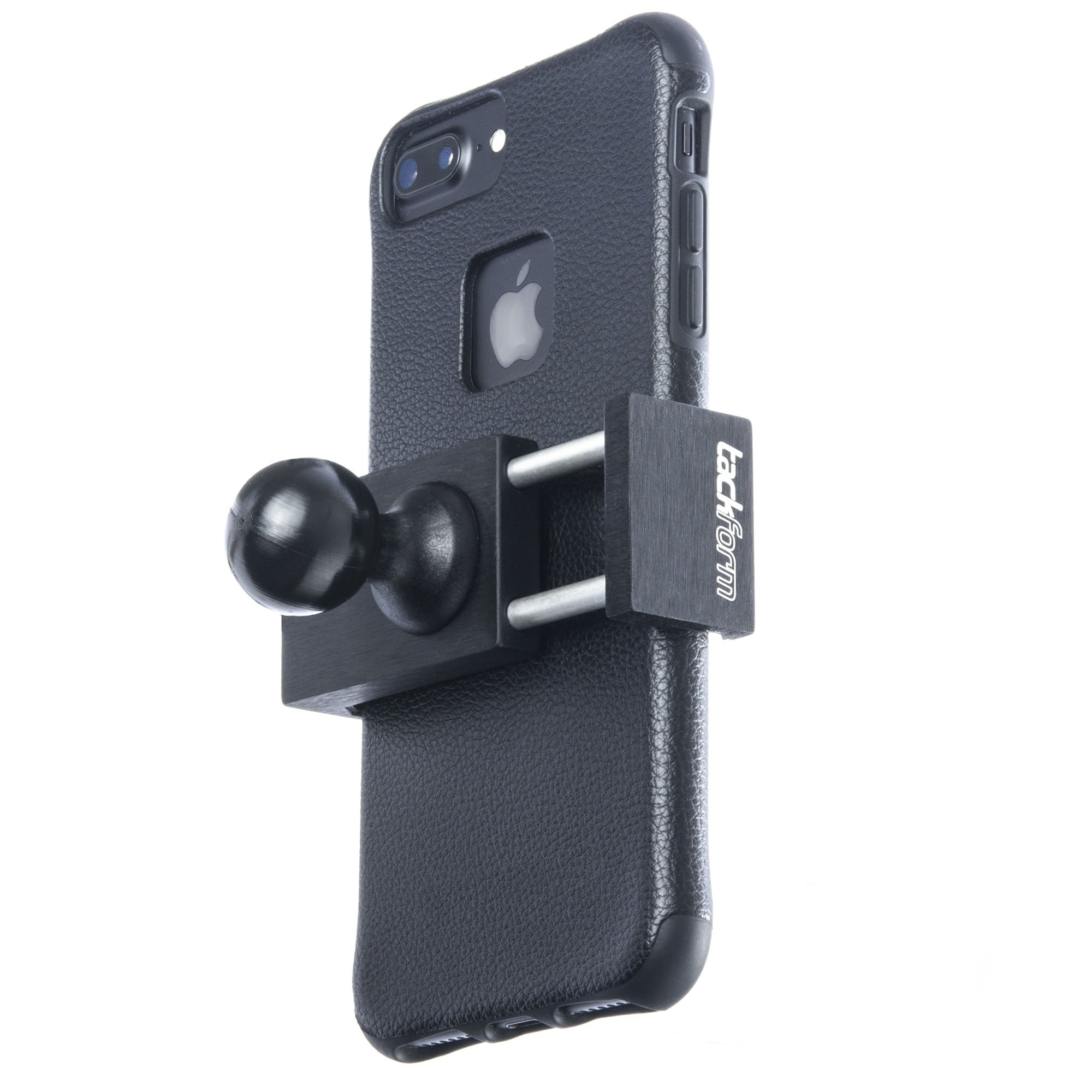 TACKFORM Motorcycle Phone Mount - 1'' Ball Connection - Heavy Duty Spring Loaded Phone Holder. Compatible with RAM and ARKON 1 Inch Ball System. NO TETHER NEEDED, but we include one anyway.