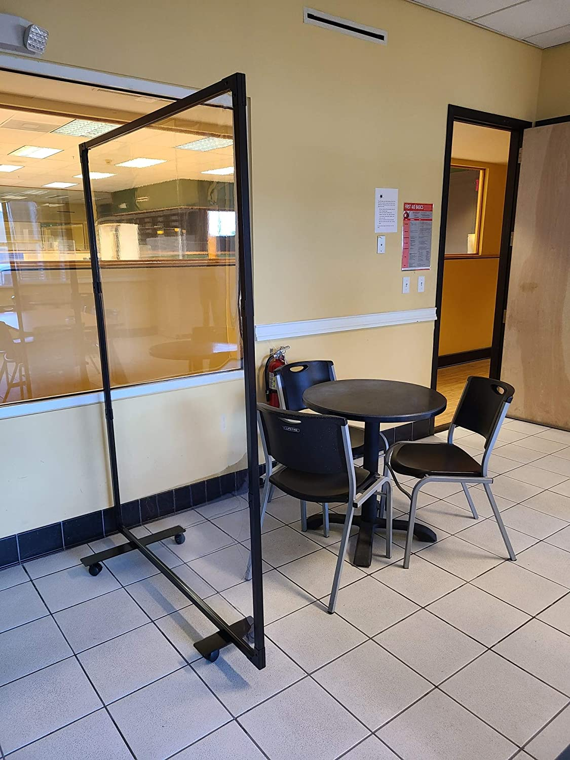 """Portable Partition Dividers 75""""H x 50.5""""W - Clear Screens Sanitation Walls/Great for Offices, Salons, Clinics, Nail Salons, and Restaurants (Black)"""