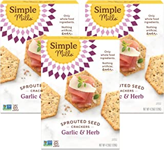 product image for Simple Mills Garlic & Herb Gluten Free Sprouted Seed Crackers with Chia Seeds, Hemp Seeds, Sunflower Seeds, Flax Seeds, and Sunflower Oil, Made with whole foods, 3 Count (Packaging May Vary)