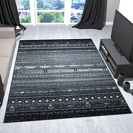 Teppich Design Wohnzimmer Skandinavisch Grau Mit Tier Blumen Muster