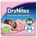 DryNites - Braguitas absorbentes para niña - 4 - 7 años (17-30 kg), 4 paquetes x 16 uds (64 unidades)