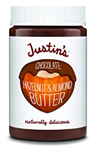 Justin's Chocolate Hazelnut and Almond Butter, Organic Cocoa, No Stir, Gluten-free, Responsibly Sourced, Packaging May Vary, 16 Oz Jar