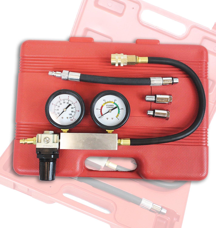 Cylinder Leakage Leakdown Leak Detector 4 Pcs Engine Compression Test Kit Double Gauge System TU-21