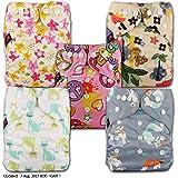 LittleBloom, Reusable Pocket Cloth Nappy, Fastener: Popper, Set of 5, Patterns 518, Without Insert