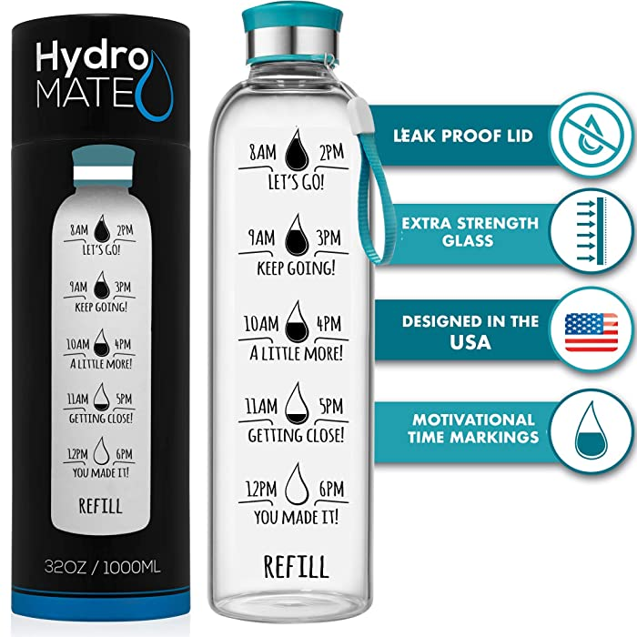 HydroMATE 32 Oz Motivational Glass Water Bottle with Time Marker | Leak Proof | BPA-Free | Track Intake & Drink More Water Daily | Safe For Travel To-Go & Hot Liquids | 1 Liter (Turquoise)
