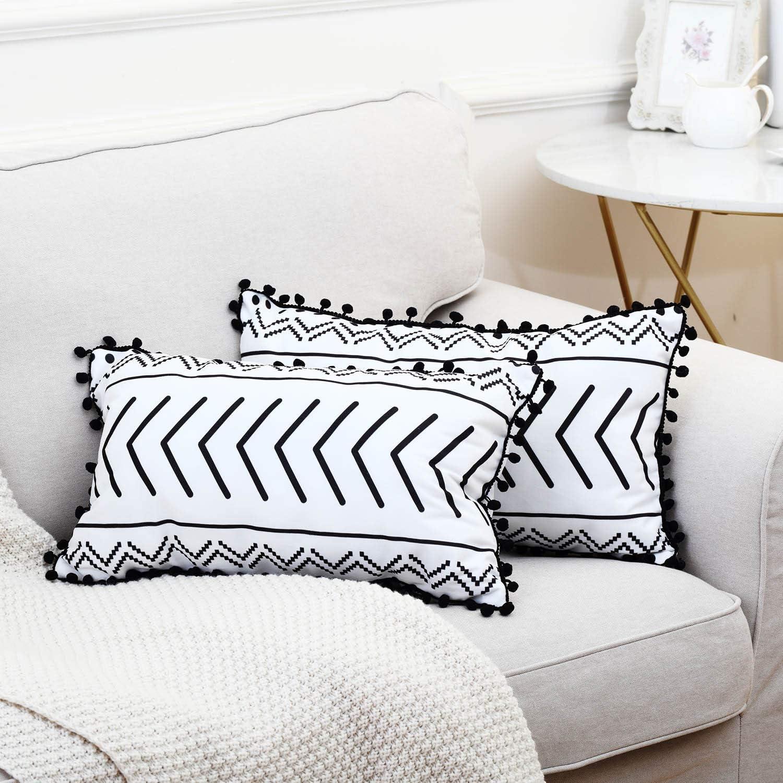 GALMAXS7 Boho Pillow Covers 12 X 20 Set of 2 Modern Geometric Throw Pillow Covers Farmhouse Decorative Pillow Covers with Pom-Poms Tassels Black and White Bohemia Decorative Pillowcase for Sofa
