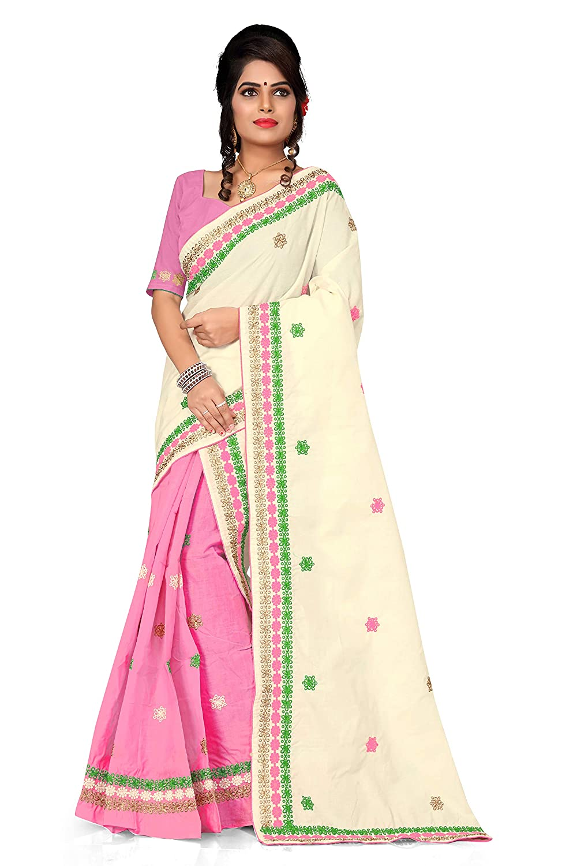S Kiran's Women's Assamese Cotton Mekhela Chador Saree with Blouse Piece (Cream and Pink)