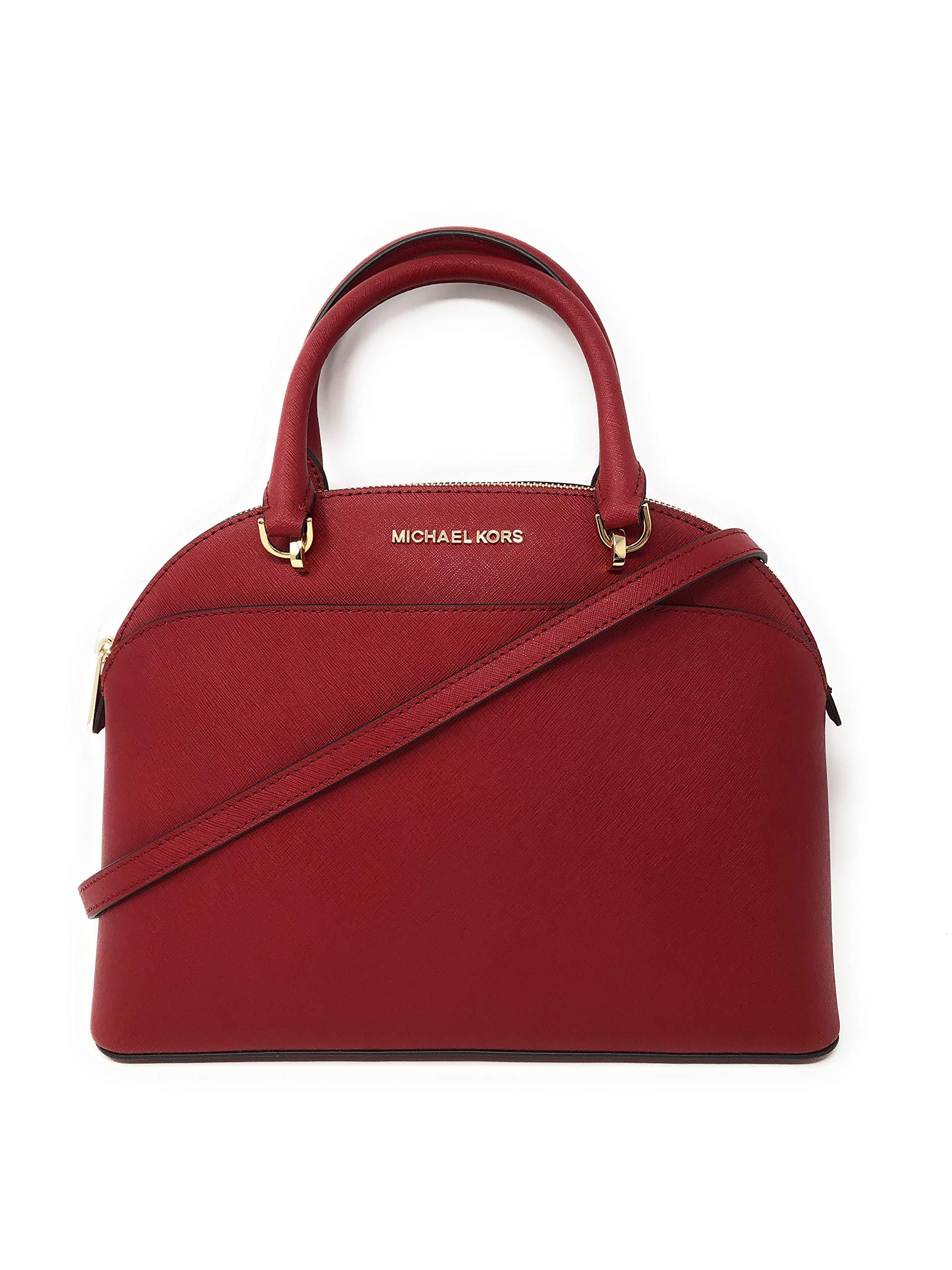 Michael Kors Emmy Large Dome Saffiano Leather Satchel Shoulder Bag Purse Handbag in Scarlet
