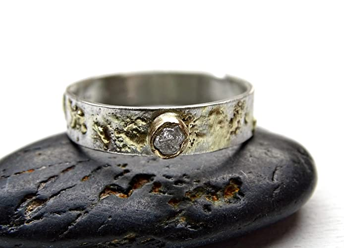 raw diamond ring gold viking engagement ring fusion ring gold silver unique wedding - Viking Wedding Rings