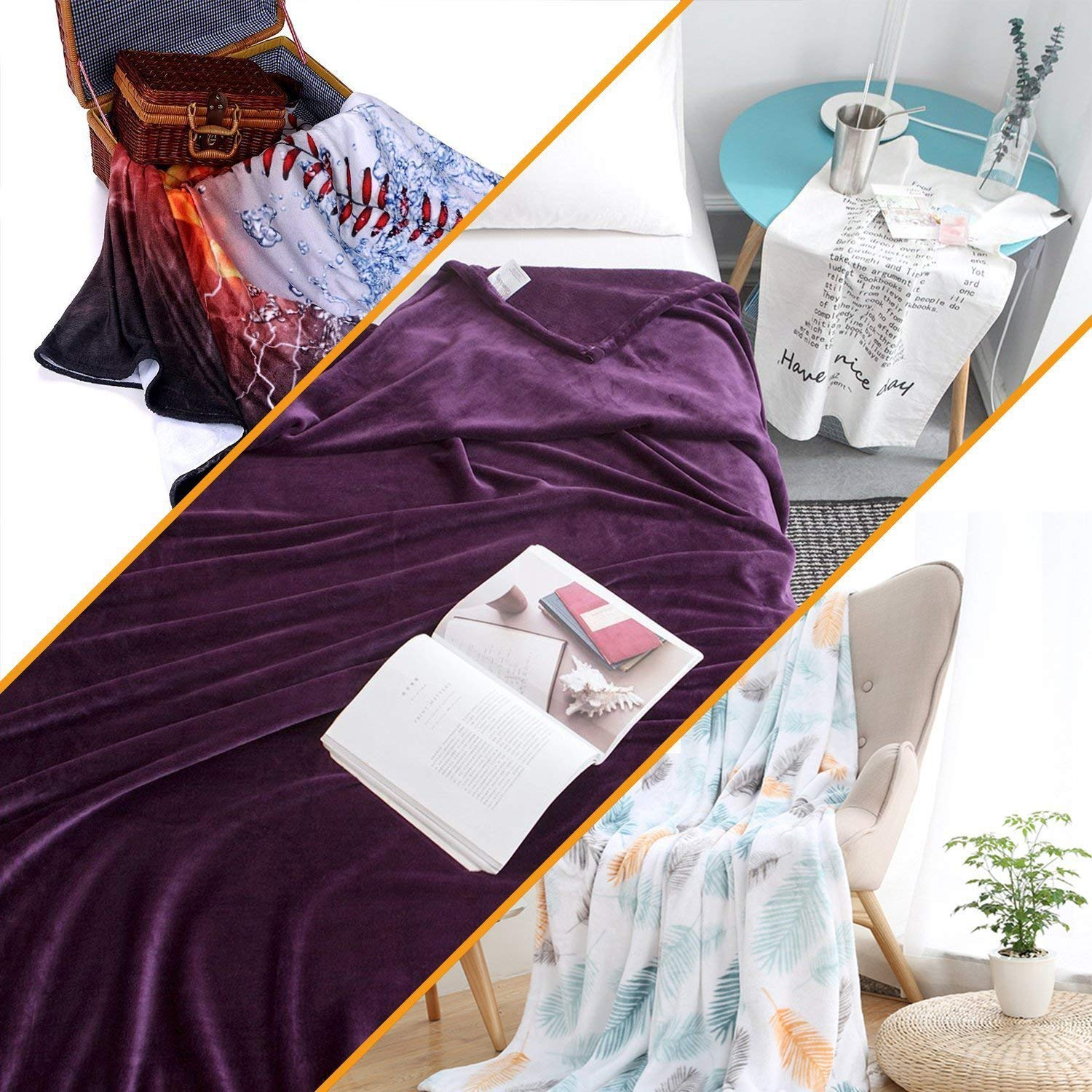 homehot Blanket Storage Bags with Zippers Abstract,Vintage Wavy Lines 80x60,Blankets for Baby