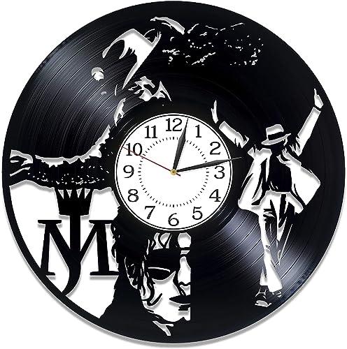 Kovides Michael Jackson Vinyl Clock 12 Inch King of Pop Birthday Gift Idea Moonwalker Vinyl Record Wall Clock Music Handmade Clock