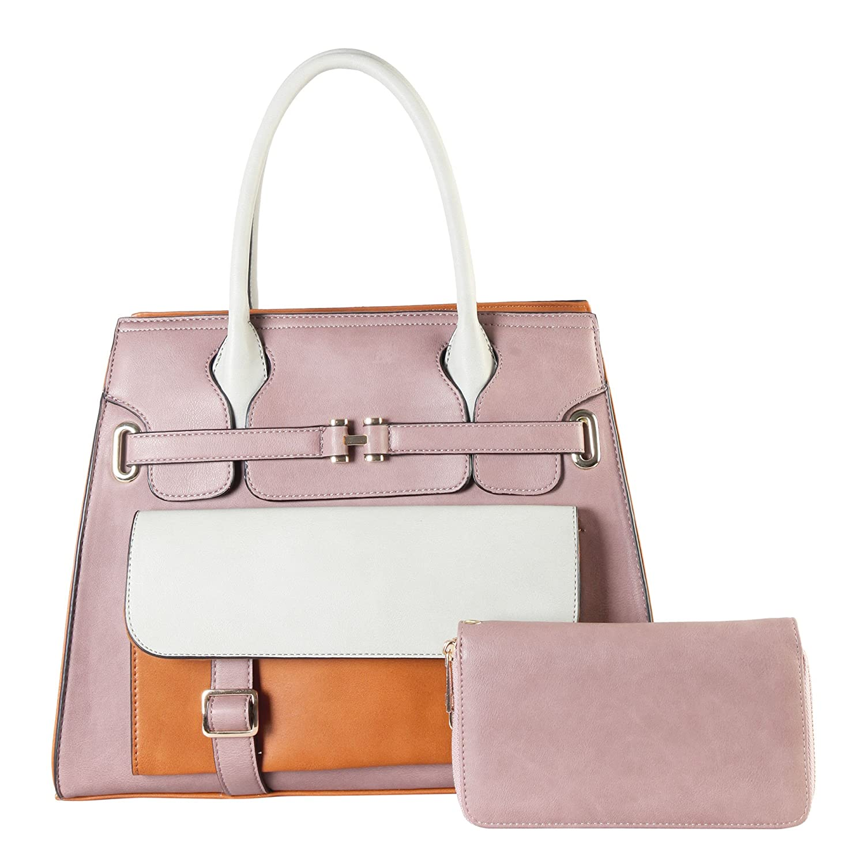 2 in 1 Satchel Shoulder Bag Belt Decor Handbag with Front Pocket RD2015