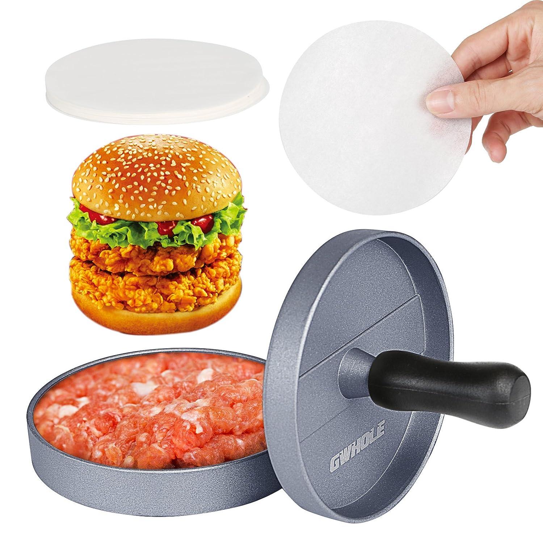 GWHOLE Presse à Burger Steak Haché + 100 Disques de Cire - Diamètre 11.5cm Antiadhésif en Aluminium