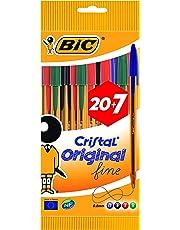 Bic - Cristal Fine - Stylo-Bille - Pointe fine 0,8 mm - 6 Noir - 12 Bleu - 5 Rouge - 4 Vert - Offre Spéciale 20+7 Gratuits