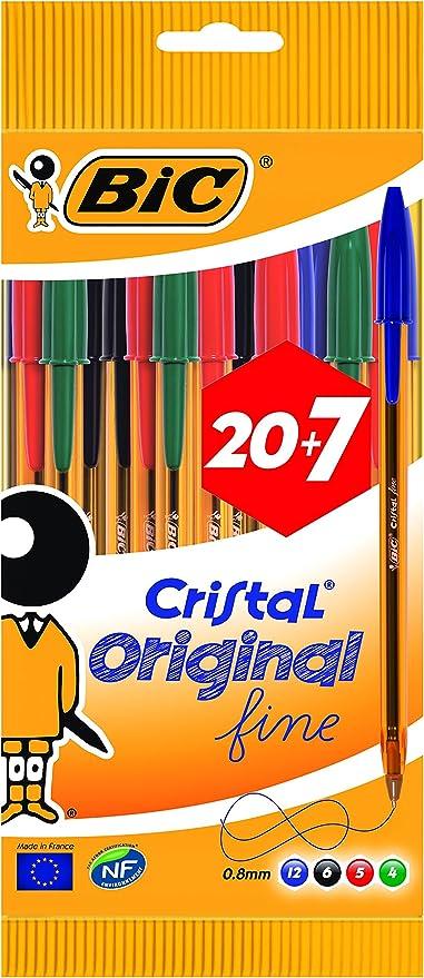 Penna a sferaCristal fusto color arancione 20 pezzi colori assortiti punta fine BIC