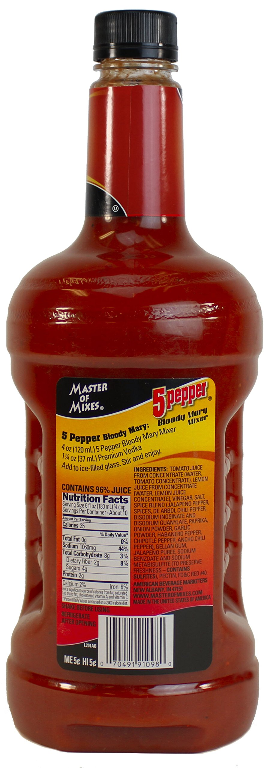 Master of Mixes 5 Pepper Extra Spicy Bloody Mary Drink Mix, Ready To Use, 1.75 Liter Bottle (59.2 Fl Oz), Pack of 3 by Master of Mixes (Image #3)