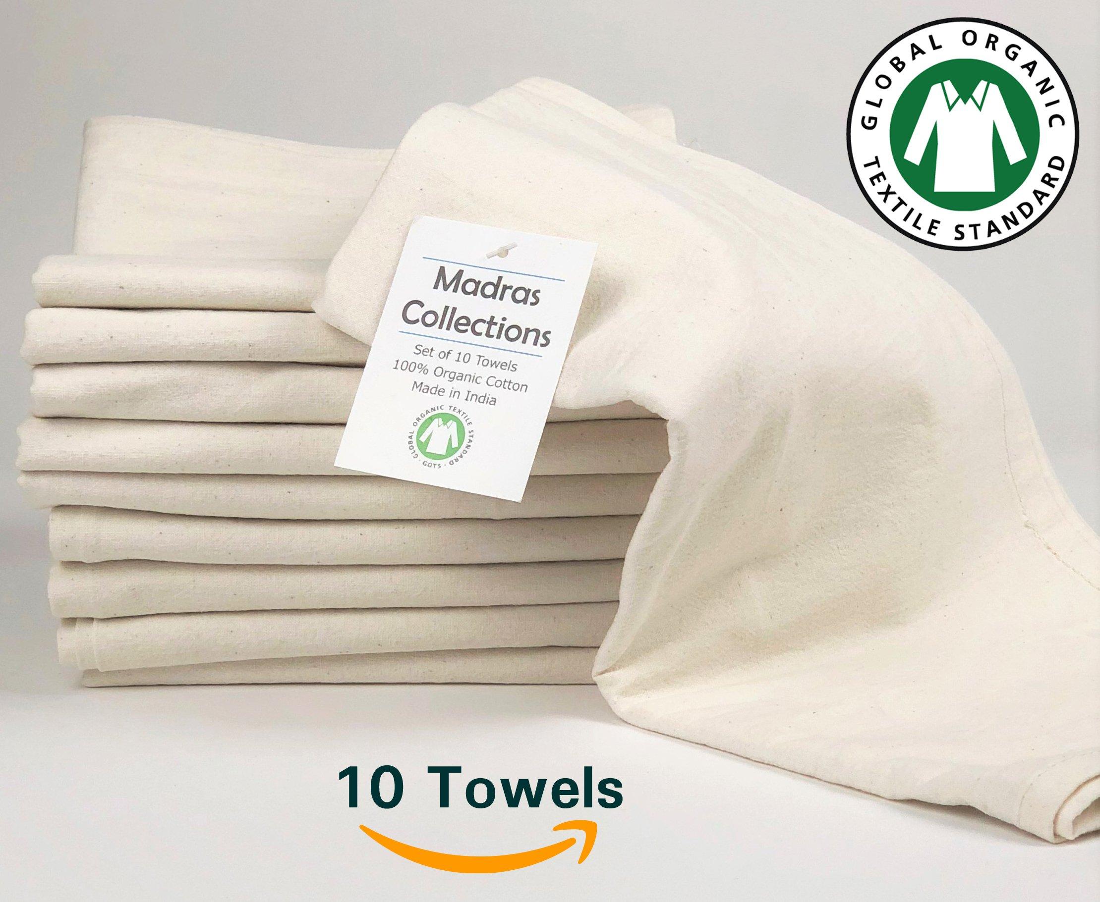 Madras Collections ORGANIC cotton Kitchen Vintage Flour Sack Kitchen Dish Towel, Commercial Restaurant Grade, Kitchen towels, (Creamy White, 28x28 Set of 10 Towels) by Madras Collections