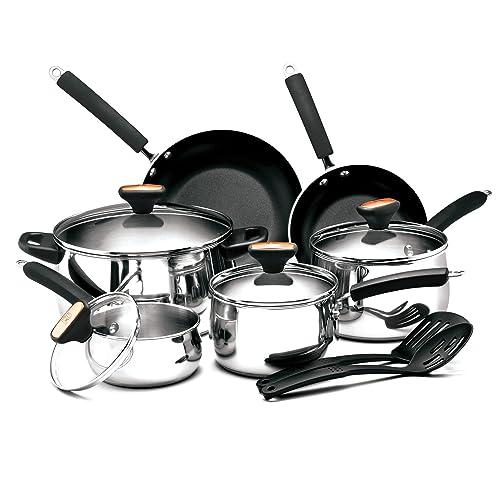 Zestaw 12-częściowych naczyń kuchennych Paula Deen Signature ze stali nierdzewnej
