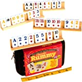 "Rummy to Go (Compact Travel Version) with Classic Card Faces _ With Four 8"" Wooden Tile Holders _ Bundled Items"