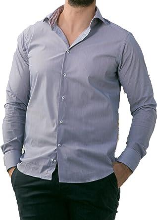 LeVele camisa de rayas blanca y azul para hombre (43): Amazon ...