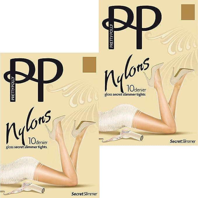 3dd89e233fe Pretty Polly Nylons 10 Denier Gloss Secret Slimmer Tights (2 Pair Pack) (S