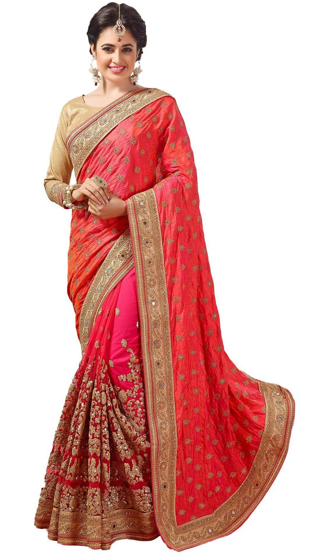 Nivah Fashion Women's Net Dhupion Silk Real Diamond With Embroidery Dori Work Sari Pink...K579A