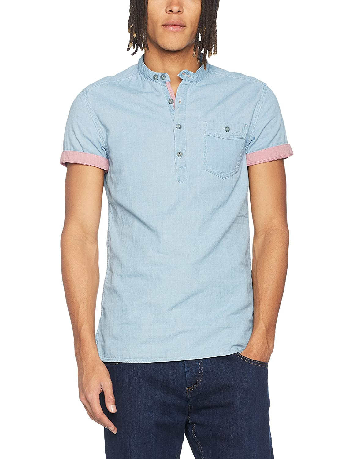 Bonobo POLOGAZH Camisa, Azul (Bleached Chemise Casual), L para ...
