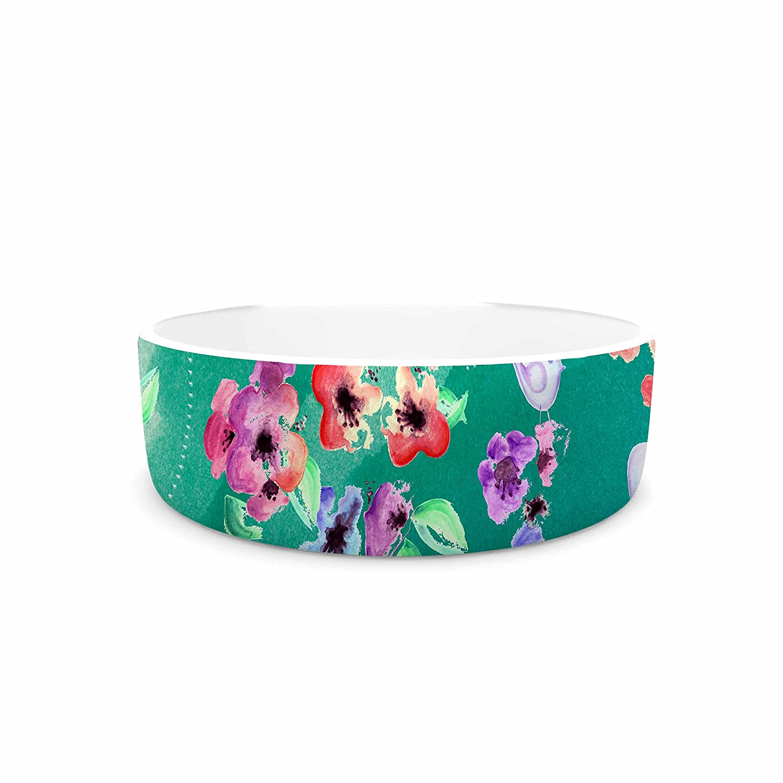 KESS InHouse Zara Martina Mansen Spring Birds on Teal  Green Purple Pet Bowl, 7